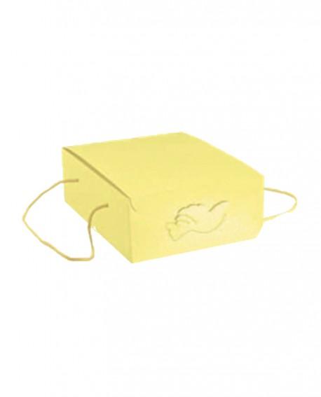 Segreto con cordini giallo stampa colomba 22,5x29,5x13 - n. 20 pezzi - Cesteria M.B. Service